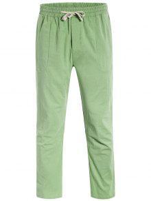 Casual Pockets Drawstring Pants - Light Green L