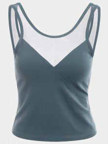 Mesh Panel Backless Sports Tank Top - Blue Gray M