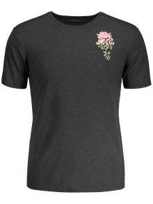 تي شيرت طباعة الأزهار الاستوائية - رمادي L