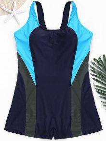 Cut Out Color Block Plus Size Swimwear - Purplish Blue 2xl