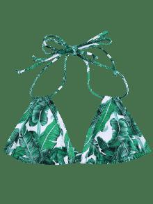 682f9e3dfea3d 2019 Padded Palm Print Bikini Top In GREEN M