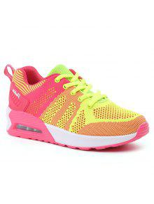 Color Block Breathable Air Cushion Athletic Shoes - Fluorescent Yellow 38