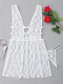 شير الدانتيل الملابس الداخلية اللباس - أبيض