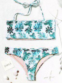 Conjunto De Bikini Bandeau Tropical De Hoja De Palma - Blanco Y Verde M