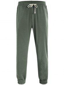 Men Drawstring Jogger Pants - Light Green L