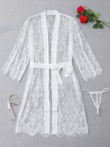 شير صدفي الدانتيل مجموعة الملابس الداخلية - أبيض