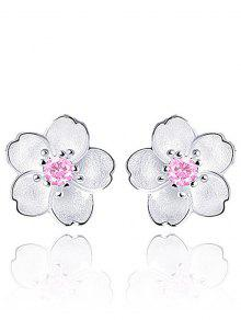 Floral Earring Jackets With Faux Crystal - Pink