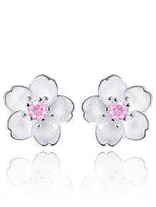 الأزهار حلق الستر مع فو كريستال - زهري