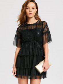 الطبقات تول فستان كوكتيل - أسود M