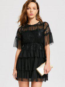 Buy Layered Tulle Cocktail Dress - BLACK L