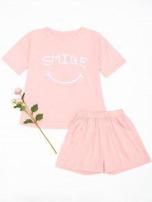 Cute Smile Top With Shorts Loungewear - Pink M
