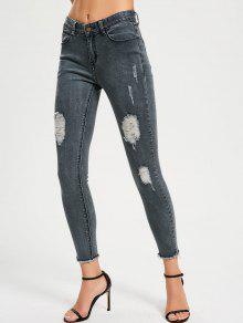 Skinny Destroyed Pencil Jeans - Blue Gray 26
