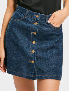 Mini Button Up Denim Skirt - Denim Blue S