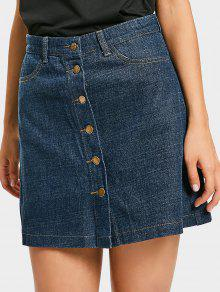 b572f9f852 32% OFF] 2019 Mini Button Up Denim Skirt In DENIM BLUE | ZAFUL