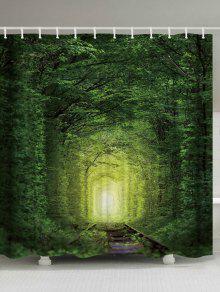 الجنية الغابات السكك الحديدية مقاومة للماء دش الستار - الأخضر العميق W71 بوصة * L79 بوصة