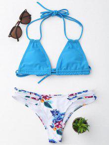 Halter Floral String Bikini Set - Lake Blue L