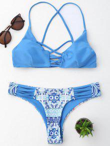 Conjunto De Biquíni Com Tiras Vazadas E Alças Cruçadas - Azul S