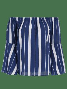 De Sueltas Hombro Franjas Blusa La L Azul Del xFqCwq8