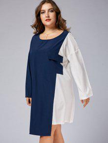 Plus Size Color Block Business Dress with Sleeves