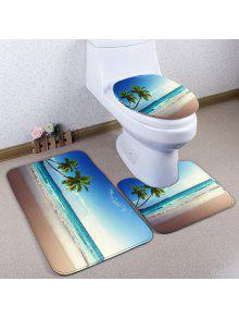 3 قطعة / المجموعة الشاطئ جوز الهند شجرة الفانيلا حمام المرحاض حصيرة - أزرق