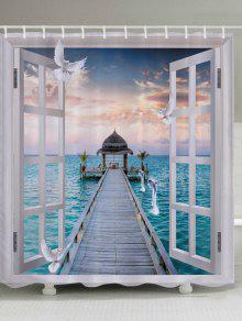 نافذة البحر جسر طباعة ماء الحمام دش الستار - أبيض W59 بوصة * L71 بوصة