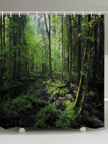 أشجار الغابات طباعة ماء الحمام دش الستار - أخضر W59 بوصة * L71 بوصة