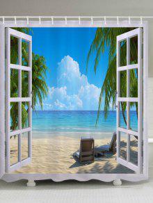 نافذة عرض الشاطئ طباعة ماء حمام دش الستار - أزرق W59 بوصة * L71 بوصة