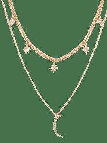 Rhinestone Moon Sun Layered Pendant Necklace - Golden