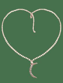 Rhinestone Moon Pendant Collarbone Necklace - Golden