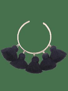 Alloy Charm Tassel Cuff Bangle Bracelet - Black