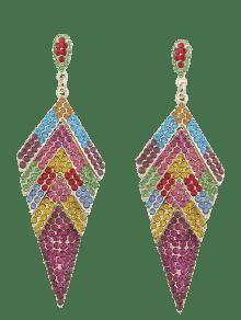 Pendientes Geométricos Brillantes Con Diamantes De Imitación Rhinestoned