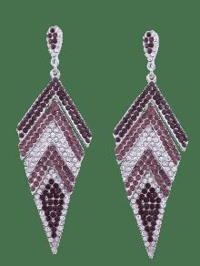 Sparkly Rhinestoned Geometric Dangle Earrings - Purple