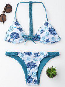 Trenzado Floral Bikini Conjunto De Cuerdas - Azul Y Blanco L