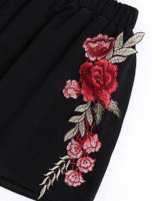 L Top Negro Pantalones Cortos Applique Bowknot Con wx5fznYF