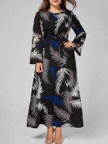 فستان الحجم الكبير ماكسي طويلة الأكمام طباعة الأوراق شيفون - أسود 3xl