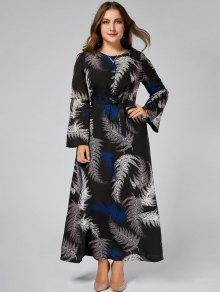 28% OFF] 2019 Leaves Printed Plus Size Long Sleeve Maxi Dress In ...