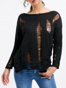 Buy Drop Shoulder Boat Neck Distressed Sweater - BLACK ONE SIZE