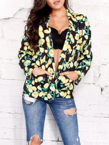 Buy Open Front Shawl Collar Lemon Print Blazer - BLACK S