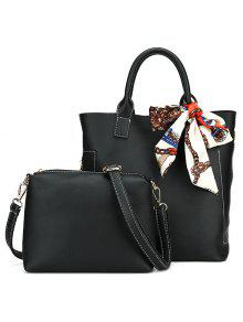 حقيبة من الجلد الصناعي مع وشاح - أسود