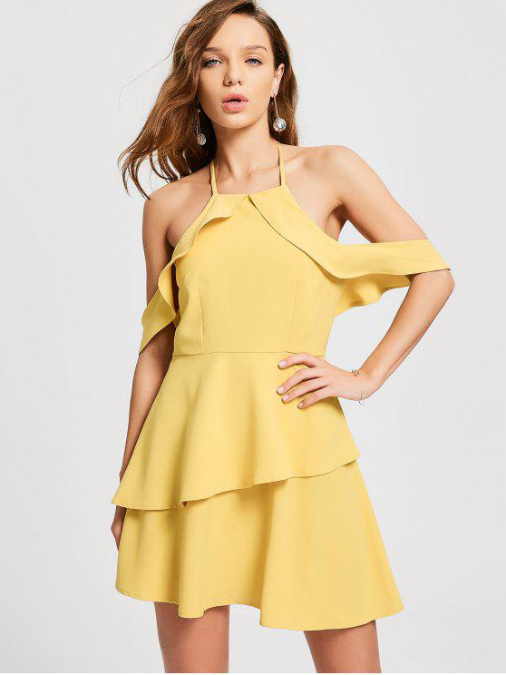 affordable Layered Ruffle Cold Shoulder Dress - YELLOW S