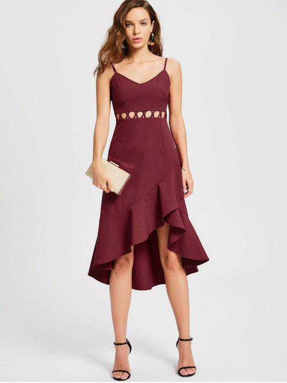 best Ruffle Cutout Slip Semi Formal Dress - WINE RED L