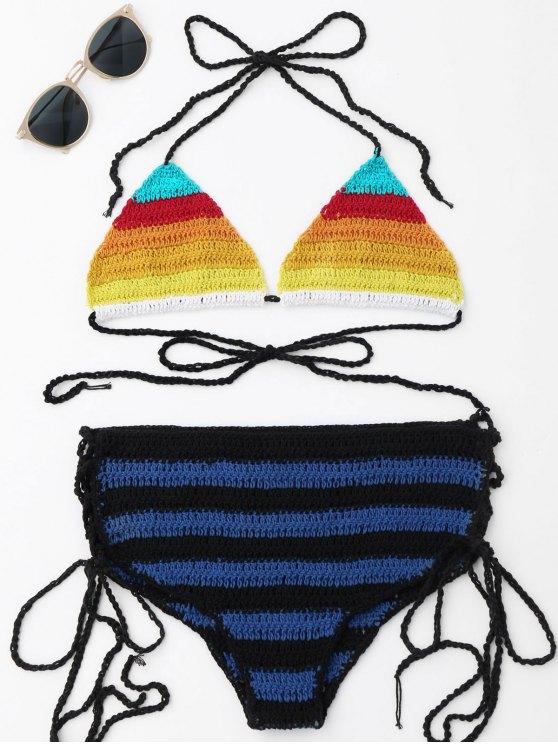 shop Lace-up Color Block Crochet Bikini Set - COLORMIX ONE SIZE