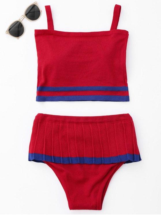 latest Two Tone Ruffle Knit Bikini Set - RED ONE SIZE