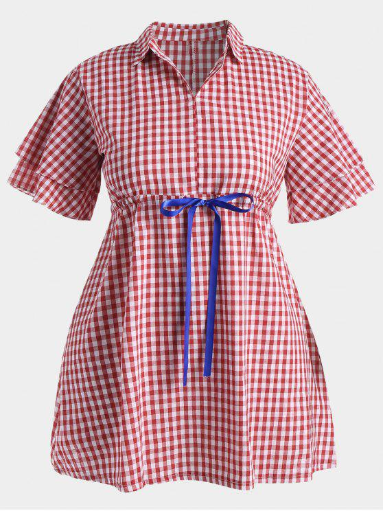buy Plus Size Drawstring Checked Dress - RED 4XL