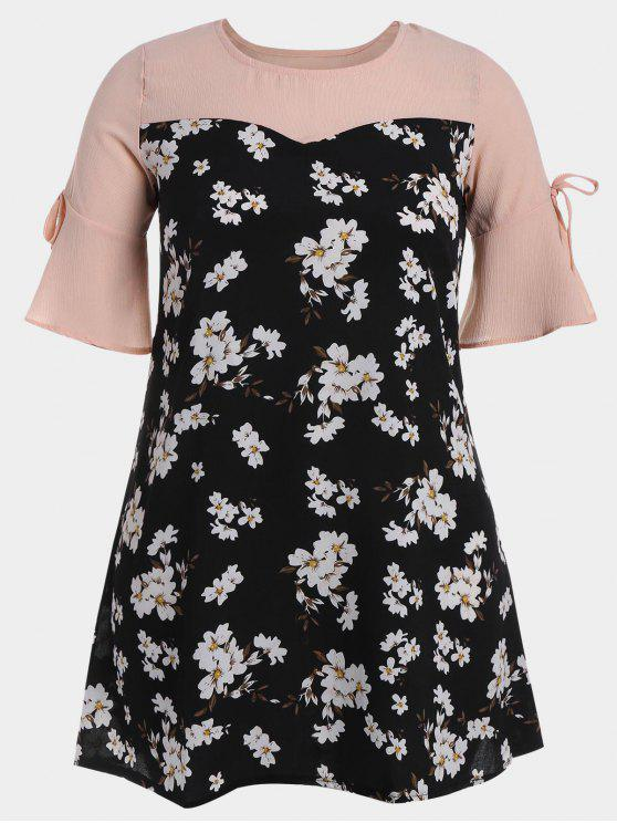 Flare Sleeve Floral Patchwork Plus Size Dress - Floral 3XL