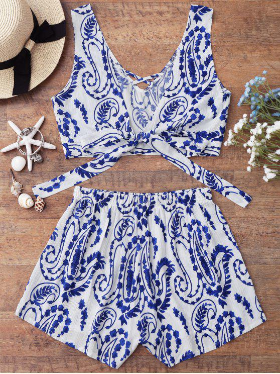 lady Knotted Strappy Crop Top with Patterned Shorts - BLUE AND WHITE XL