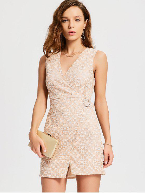 hot D-ring Cutout Lace Dress - PINKBEIGE L