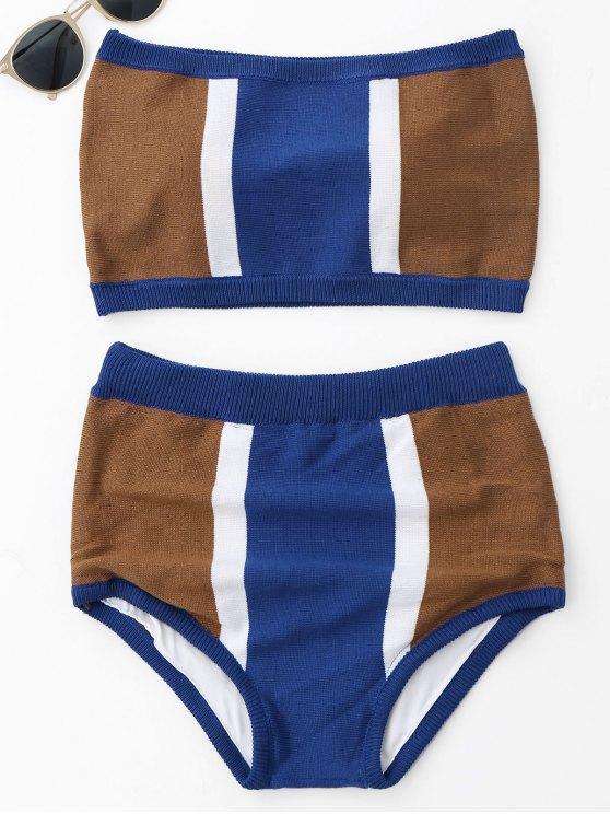 women Strapless Color Block Knit Bikini Set - BLUE ONE SIZE
