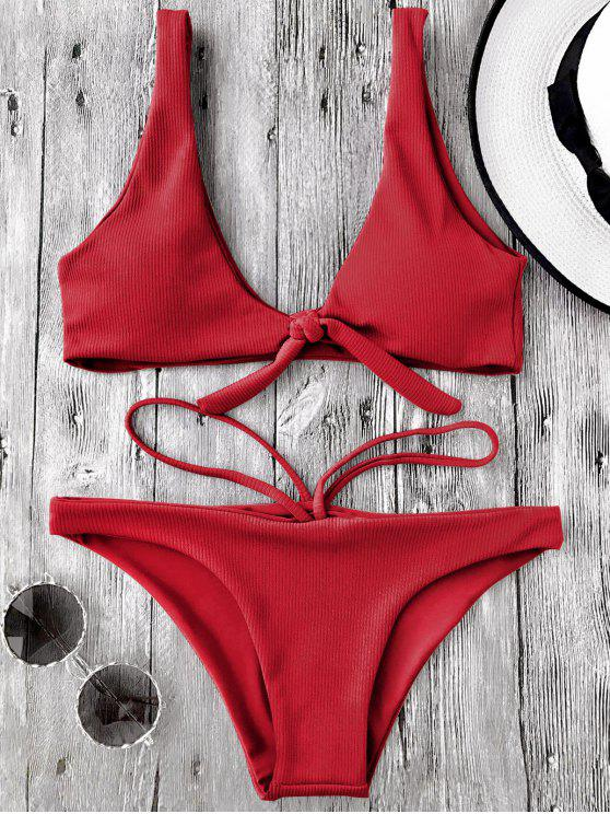 online Knotted Textured Scoop Bikini Set - RED L