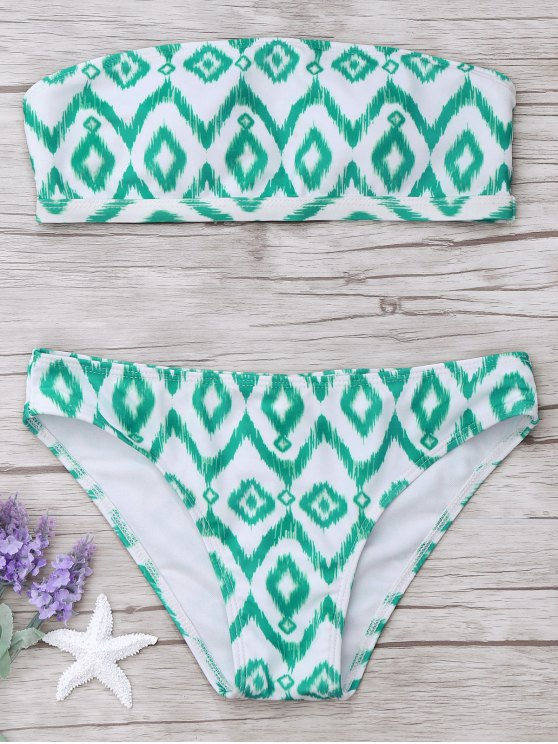 outfits Argyle Bandeau Bikini Set - WHITE AND GREEN M
